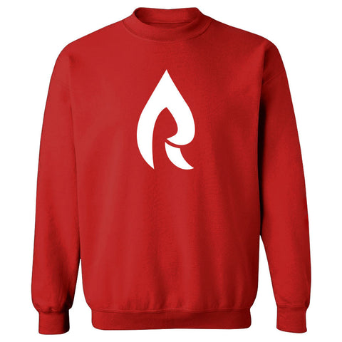 Rain Icon Crewneck - Wht on Red