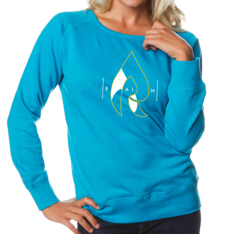 Rain Girls Decay Crewneck - YelWht on Aqua