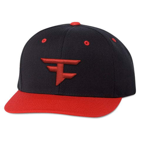 6 Panel Snapback Hat - Red on Blk/Red