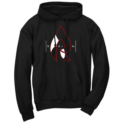 Rain Decay Hoodie - RedWht on Blk
