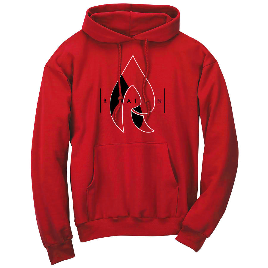 Rain Decay Hoodie - WhtBlk on Red