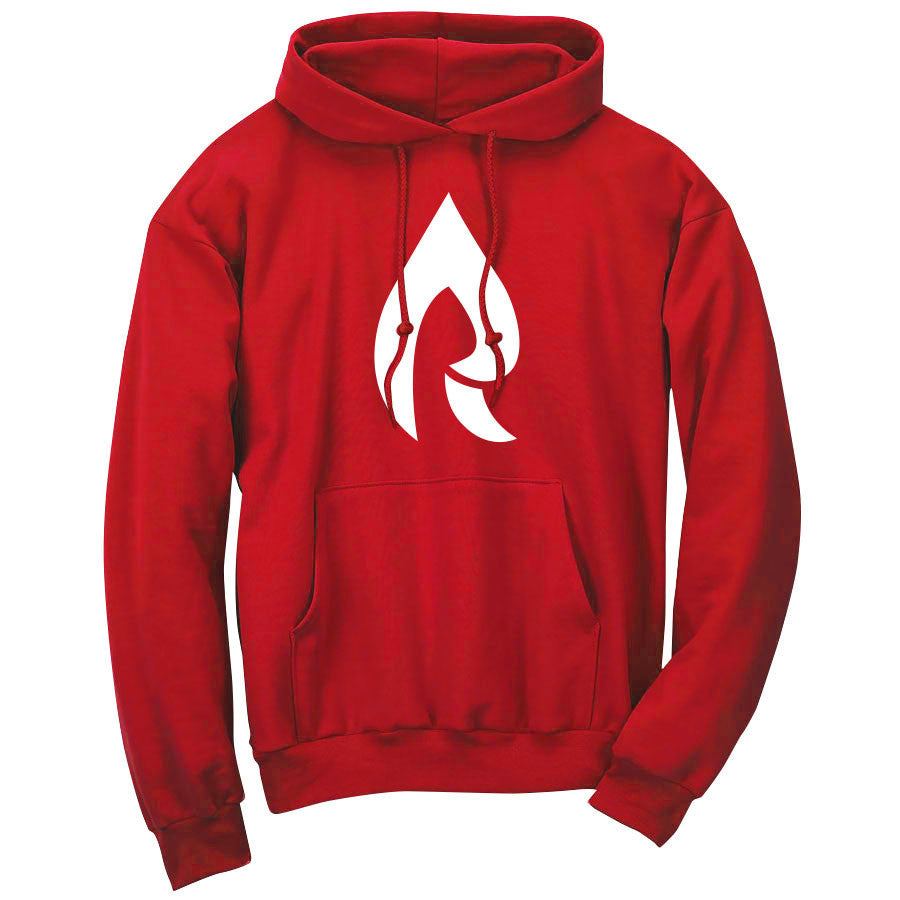 Rain Icon Hoodie - Wht on Red