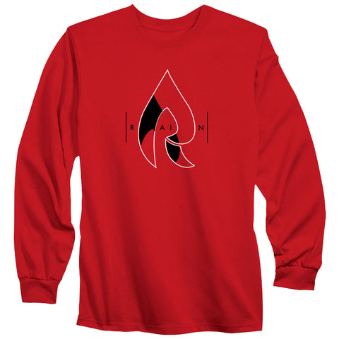Rain Decay Long Sleeve - WhtBlk on Red