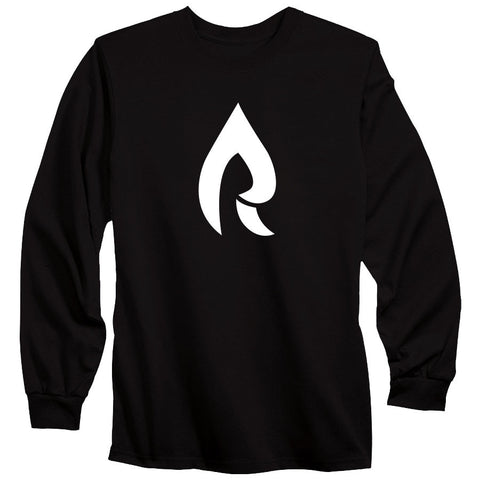 Rain Icon Long Sleeve - Wht on Blk