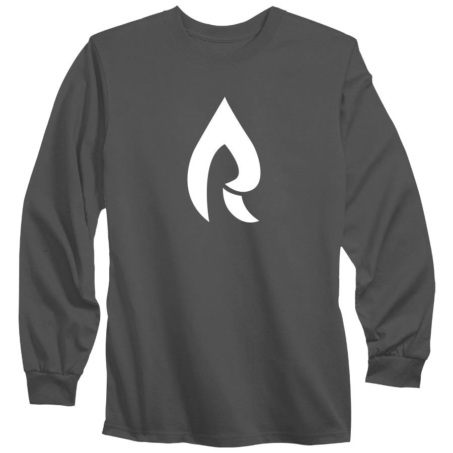 Rain Icon Long Sleeve - Wht on Chcl