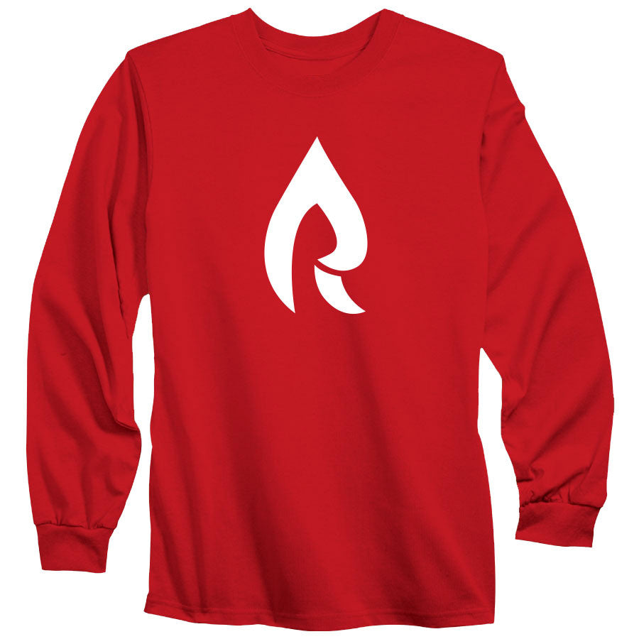 Rain Icon Long Sleeve - Wht on Red