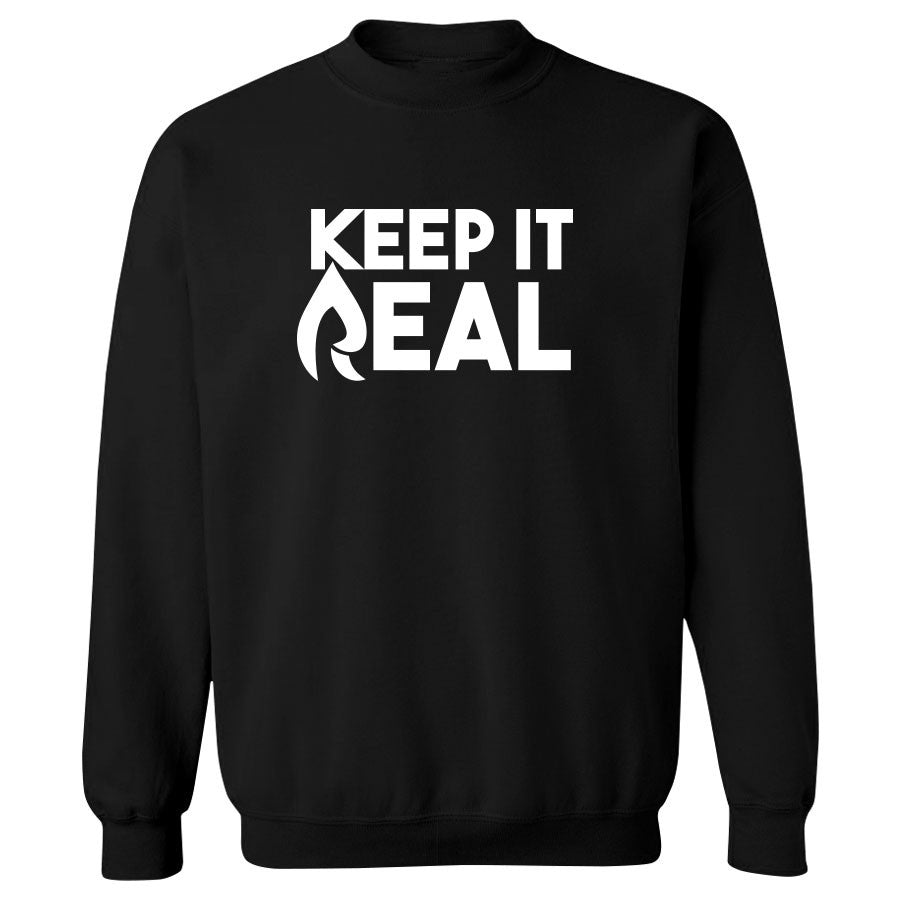Rain Keep It Real Crewneck - Wht on Blk