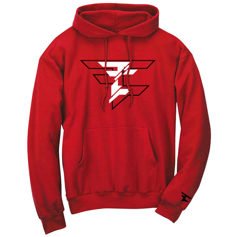 CutUp Hoodie - BlkWht on Red