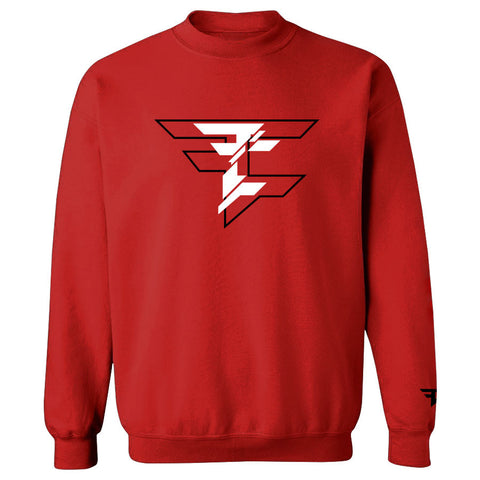 CutUp Crewneck - BlkWht on Red