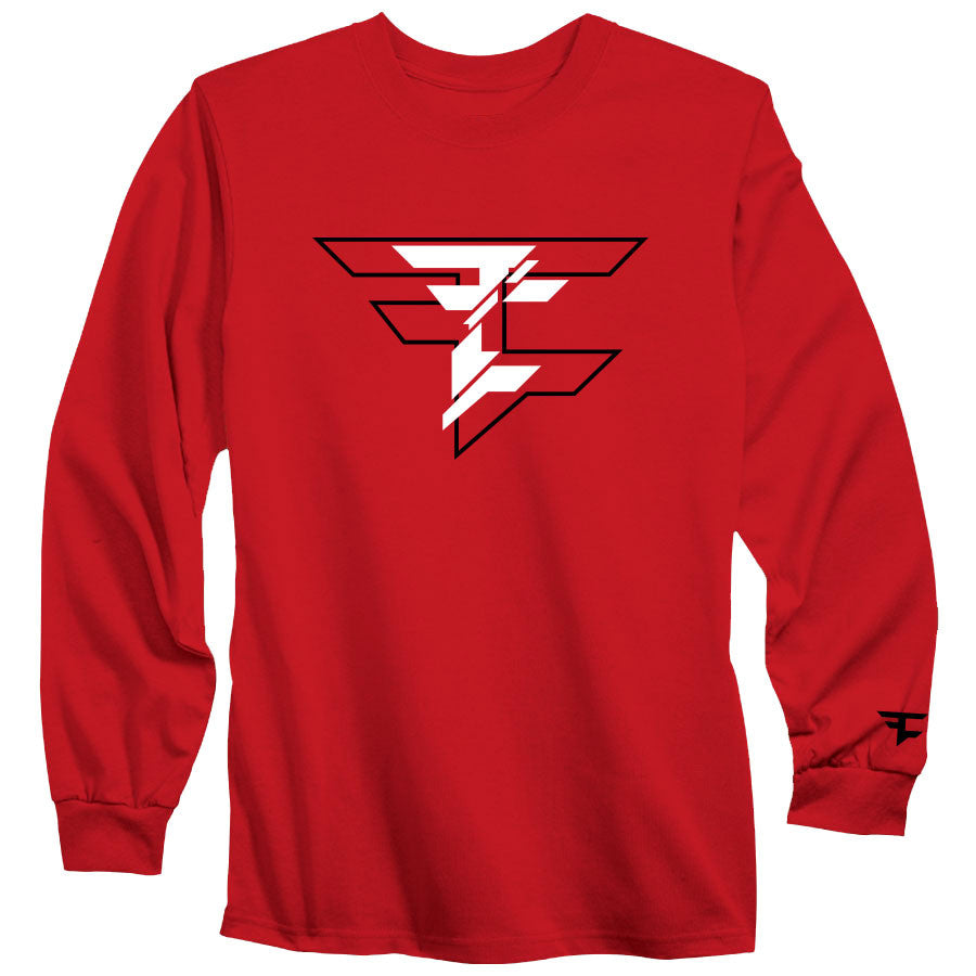 CutUp Long Sleeve - BlkWht on Red