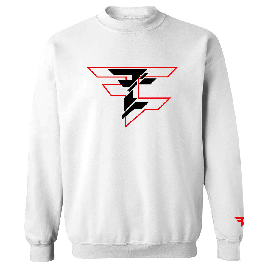 CutUp Crewneck - RedBlk on Wht