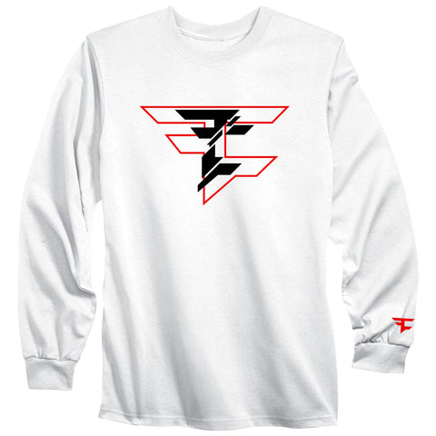 CutUp Long Sleeve Tee - RedBlk on Wht
