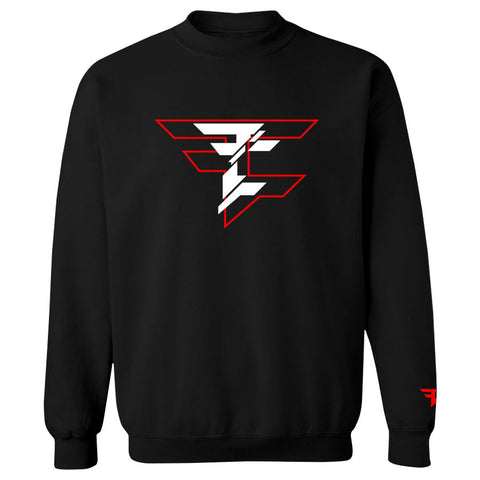 CutUp Crewneck - RedWht on Blk