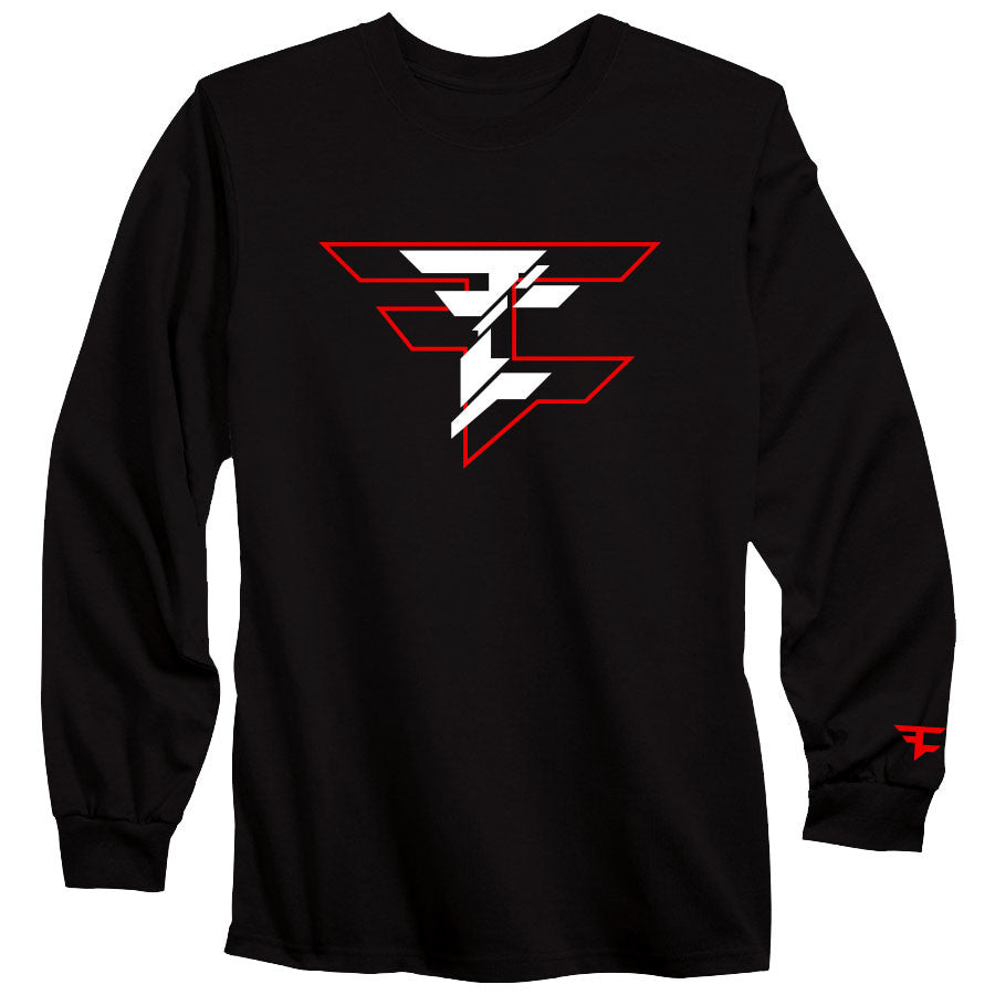 CutUp Long Sleeve Tee - RedWht on Blk