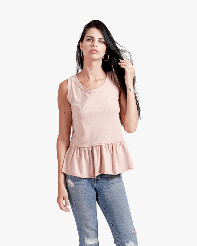 Cali Ruffle Top - blush cotton ruffle rufle tee womens tank top