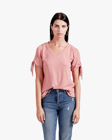 Iris Tee - cotton vneck top, pink vneck top, rose color top, sleeve tie top, tie sleeves,