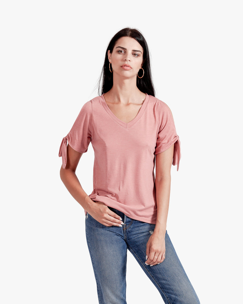 Iris Tee - cotton vneck top pink vneck top rose color top sleeve tie top tie sleeves