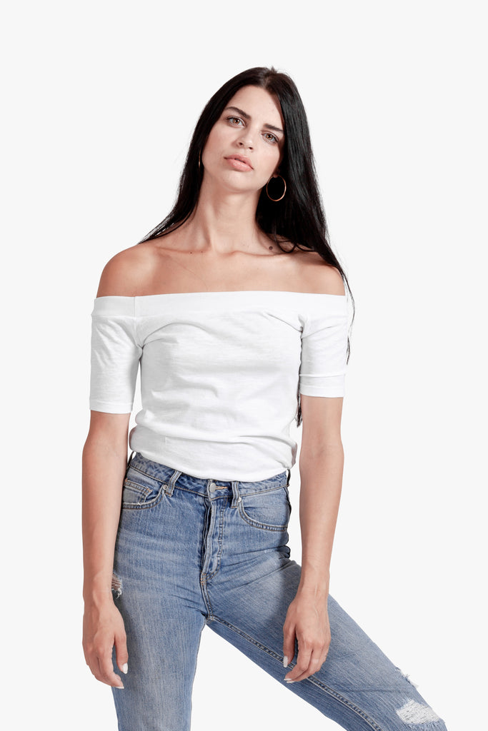 Kylie Off Shoulder Tee - off shoulder top off the shoulder tee white white tshirt