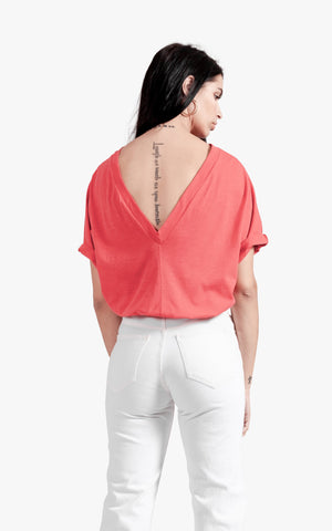 Deep V Back Tee - cotton, deep v, deep v back, off shoulder, open back, sexy top, v neck, womens v neck,