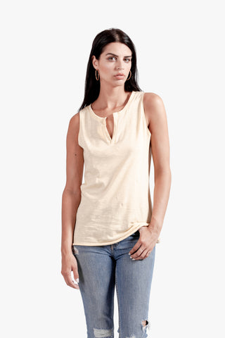 Kai Tank - open neck tank, split top, v neck top, womens tank top, yellow top,