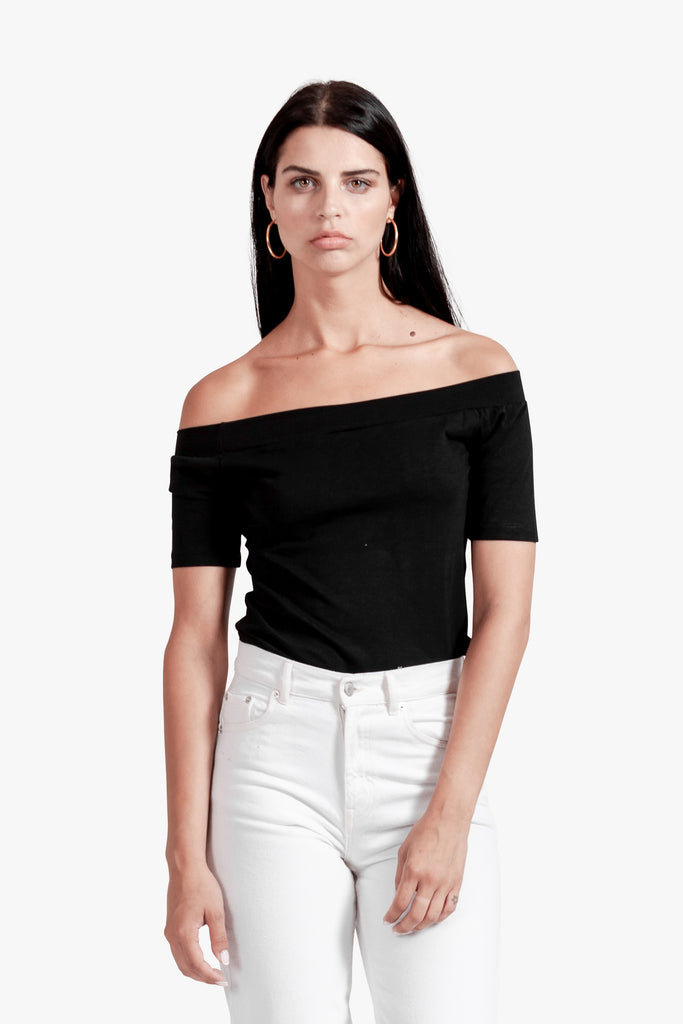 Kylie Off Shoulder Tee - black off shoulder cotton off shoulder top off the shoulder sexy top tee