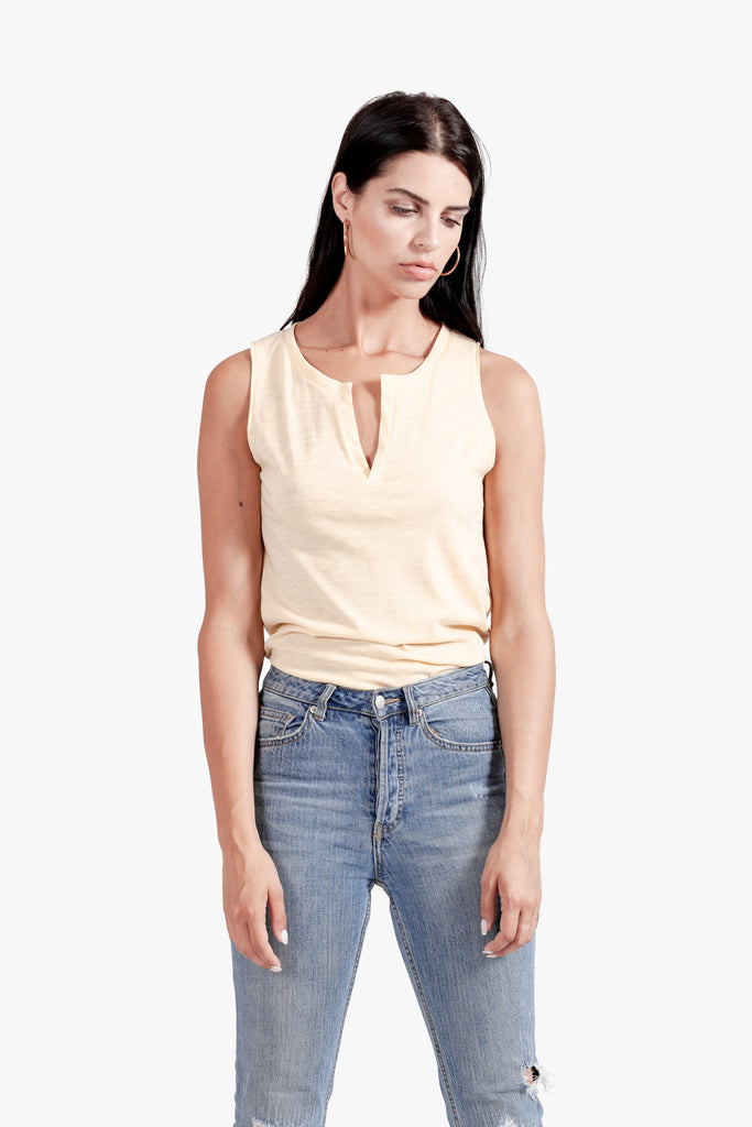 Kai Tank - open neck tank split top v neck top womens tank top yellow top