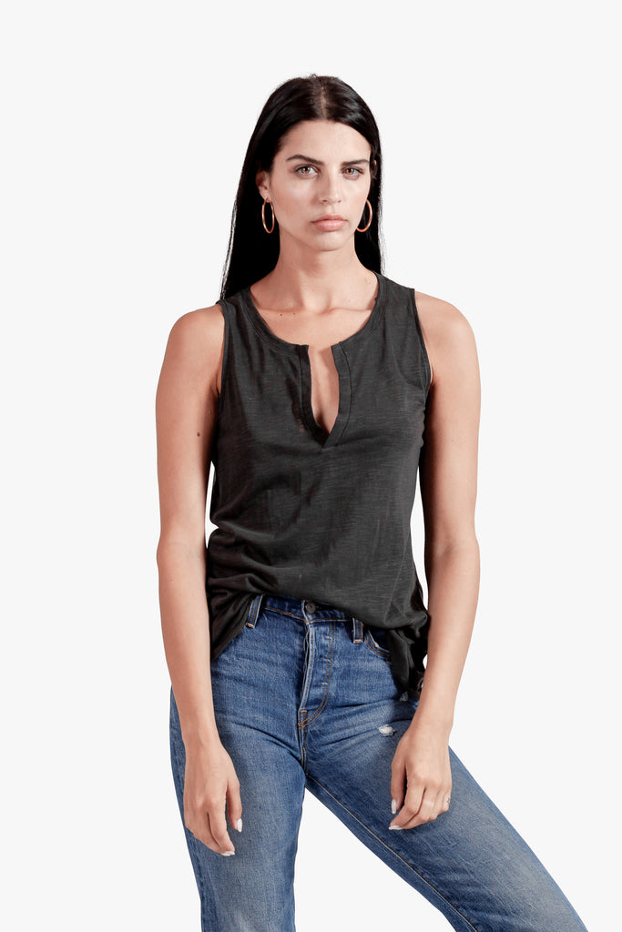 Kai Tank - open slip top slip top tank tank top with neck opening v slip vintage black womens tank top