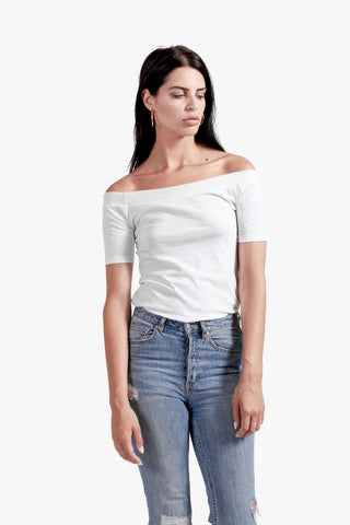 Kylie Off Shoulder Tee - off shoulder top, off the shoulder, tee, white, white tshirt,