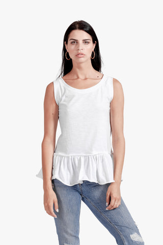 Cali Ruffle Top - basics, casual, cotton, ruffle tank top, ruffle top, summer top, tank, womens tank, womens white tank top,