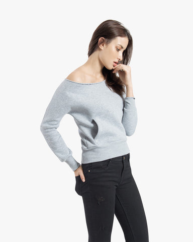 Flash Sweatshirt - cotton, featured, grey, hoodie, off shoulder sweater, off shoulder sweatshirt, sweater, top,