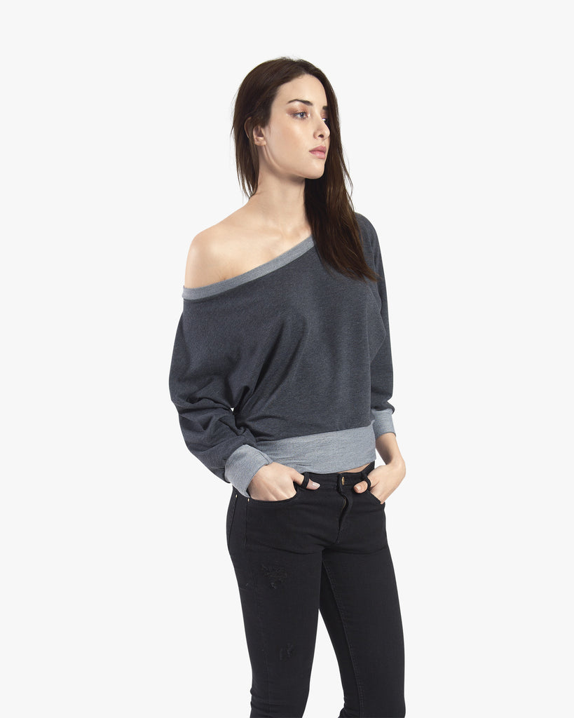 Alexa Sweater - black grey sweater top