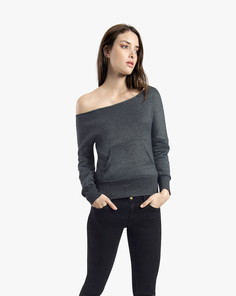 Flash Sweatshirt - cotton featured grey hoodie off shoulder sweater off shoulder sweatshirt sweater top