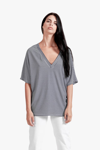 Deep V Striped Top - blue and white stripes cotton striped top deep v back deep v neck striped top stripes v neck top womens striped tunic