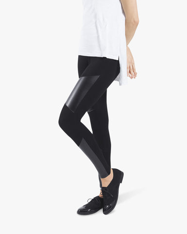 Kate Leggings - black, cotton, leather, leggings,