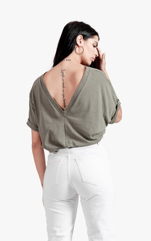 Deep V back Tee - cotton v neck deep v back top deep v neck v back top womens v neck top