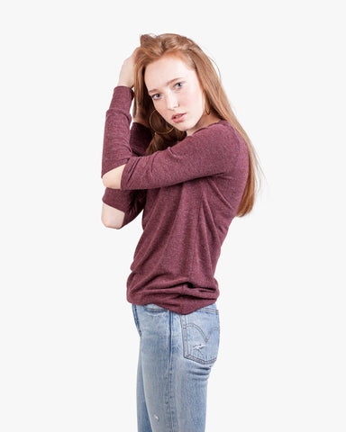 Gigi Brushed Top - brushed, burgundy top, crew neck, cut out, cut out elbows, grey tops, open elbows, slashed top, sweater, top, womens cut out,
