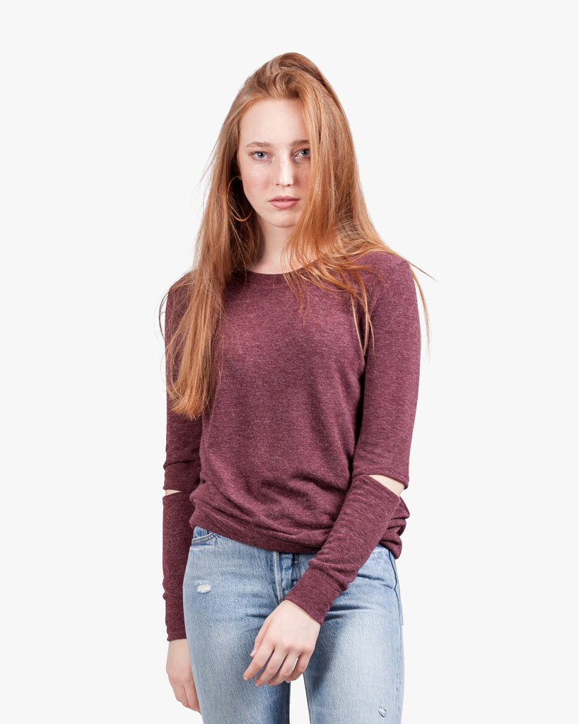 Gigi Brushed Top - brushed burgundy top crew neck cut out cut out elbows grey tops open elbows slashed top sweater top womens cut out