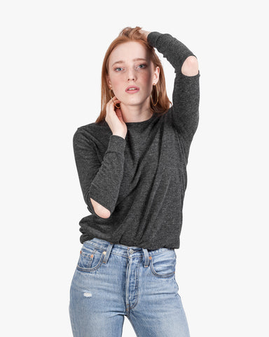 Gigi Brushed Top - brushed crew neck cut out cut out elbows grey tops longsleeve grey top open elbows slashed top sweater top womens cut out