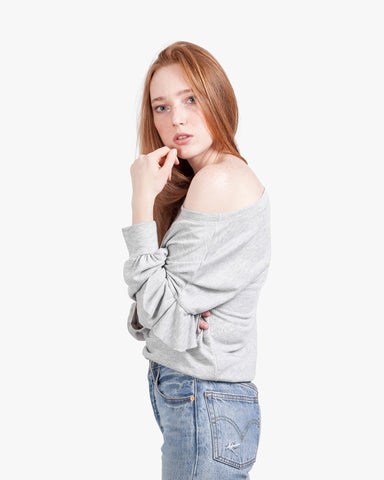 Ruffle Off Shoulder Sweatshirt - exposed shoulder, heather grey top, off shoulder top, off the shoulder, ruffle sleeves, ruffle top, summer top, top with ruffles on sleeves, womens off shoulder, womens sexy top,
