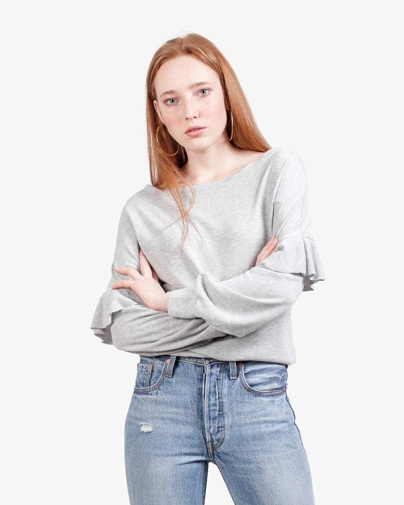 Ruffle Off Shoulder Sweatshirt - exposed shoulder heather grey top off shoulder top off the shoulder ruffle sleeves ruffle top summer top top with ruffles on sleeves womens off shoulder womens sexy top