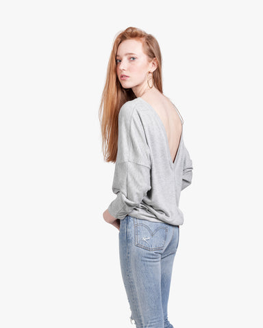 Deep V Back Top - deep v open back top, heather grey top, longlsleeve open back, off shoulder top, open back sweater, open back top, sexy open back, vback open top,