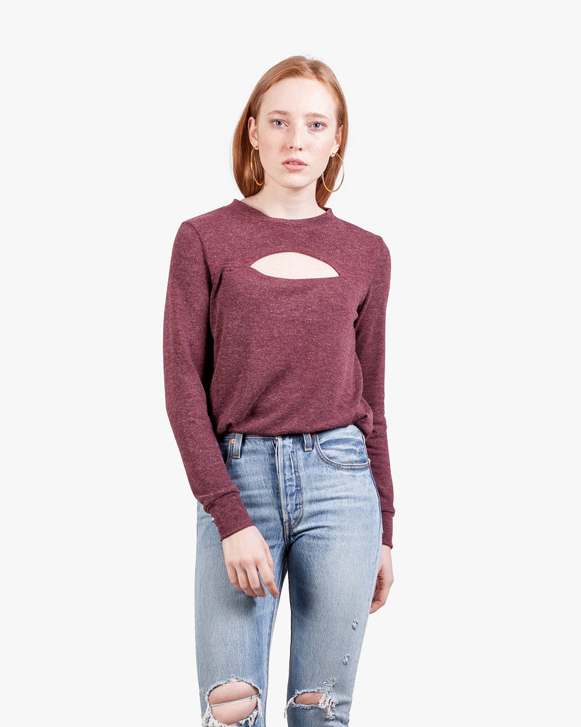 Freya Cutout Brushed Top - bruched hacci burgundy top crew neck cutout top longsleeve normal fit soft womens top womens cutout top womens sweater