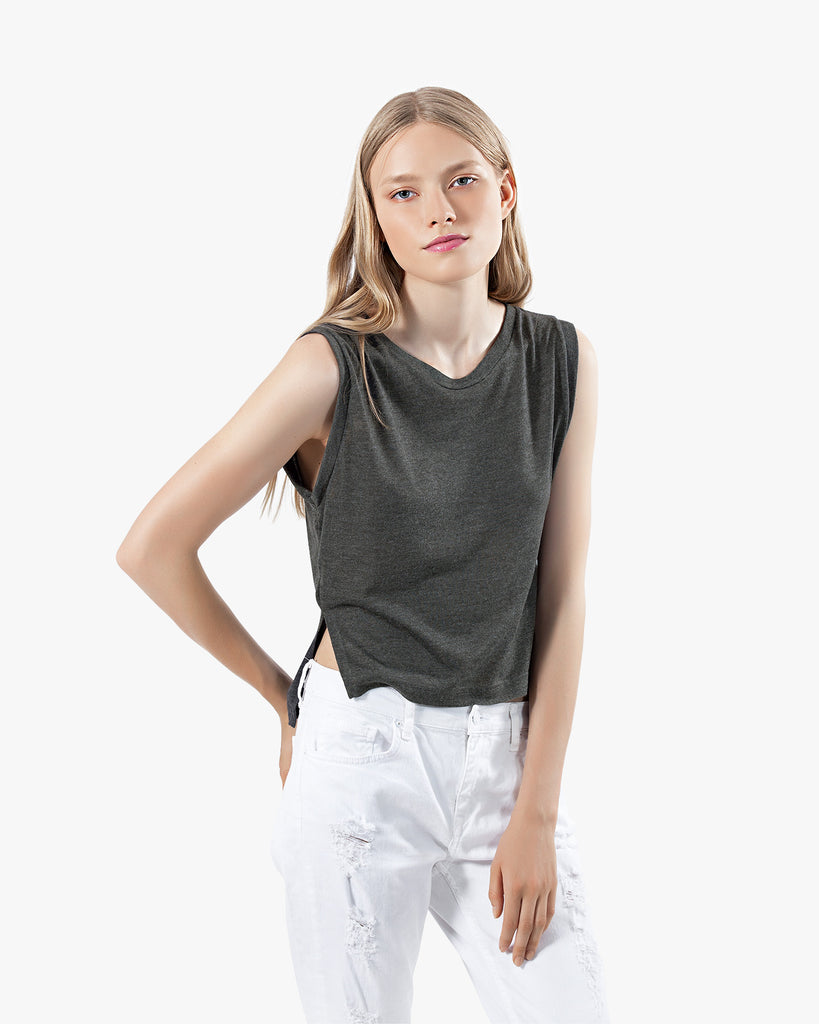 Ciera Tank - asymmetric cotton crop top edgy grey muscle tee premium side slits summer tank