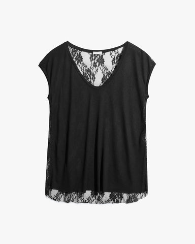 Cissy Tee - black, black shirt, cotton, lace back top, lace tee, lace top, muscle tee, sleeveless top, tank top, tee, womens sexy tops,