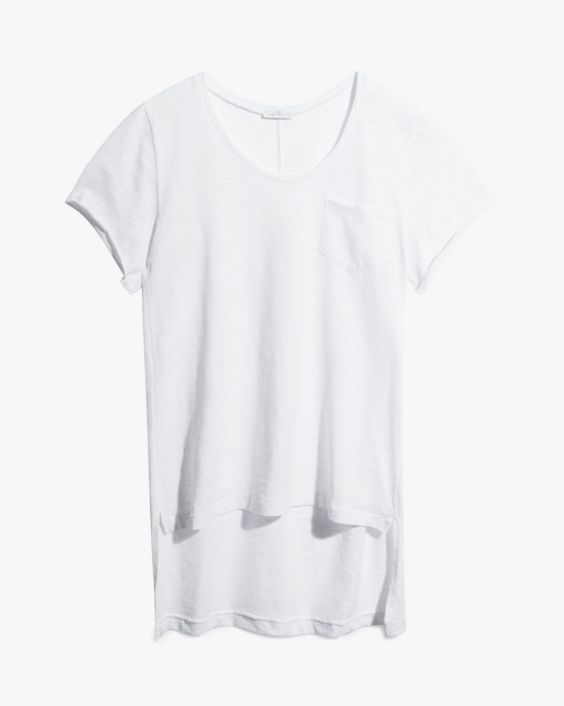 Clay Tee - black cotton edgy hi-low hem premium side split summer t-shirt tee white