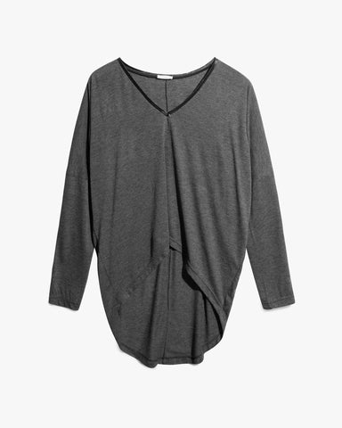 Agnes Top - asymmetric, asymmetric hem, blouse, cool, cotton, edgy, grey, leather details, neckline, rock, summer, sweater, top,