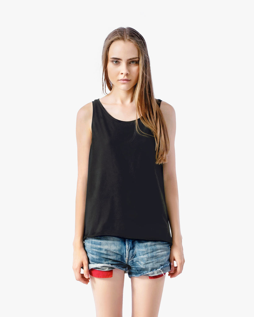 Mia Tank - asymmetrical tee black black tank top cotton crop top featured hi-low hem lace panelled tank lace shirt lace tank lace tee oversized tee sexy shirt summer t-shirt tee womens tank top