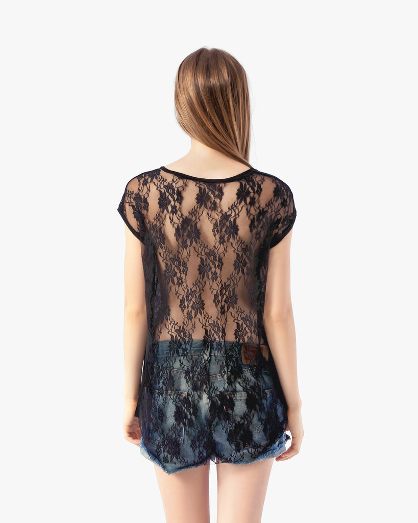 Cissy Tee - black black shirt cotton lace back top lace tee lace top muscle tee sleeveless top tank top tee womens sexy tops