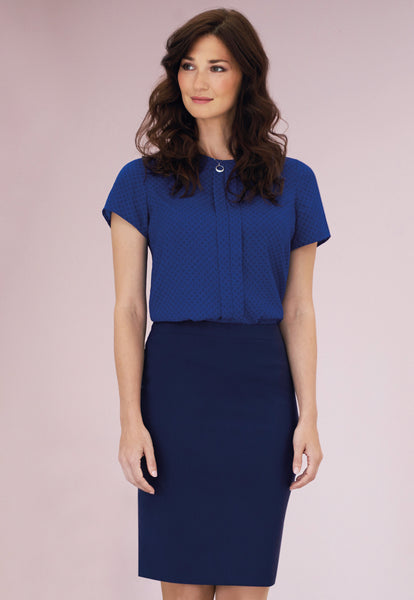 Brook Taverner Mid Blue Numana Straight Skirt