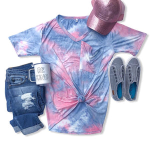 Cotton Candy Tie Dye Slouchy Pocket Tee